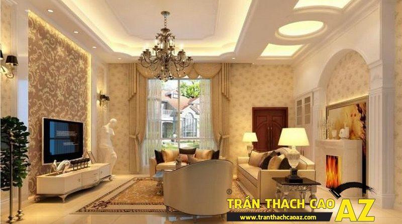 Màu trắng - Màu chủ đạo để trang trí trần thạch cao phòng khách đẹp