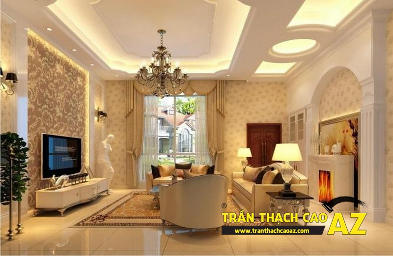 Tạo hình khối ấn tượng với trần thạch cao phòng khách - 02