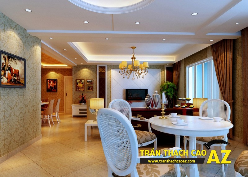 Trần thạch cao tạo không gian đẹp, sang trọng cho các gia đình