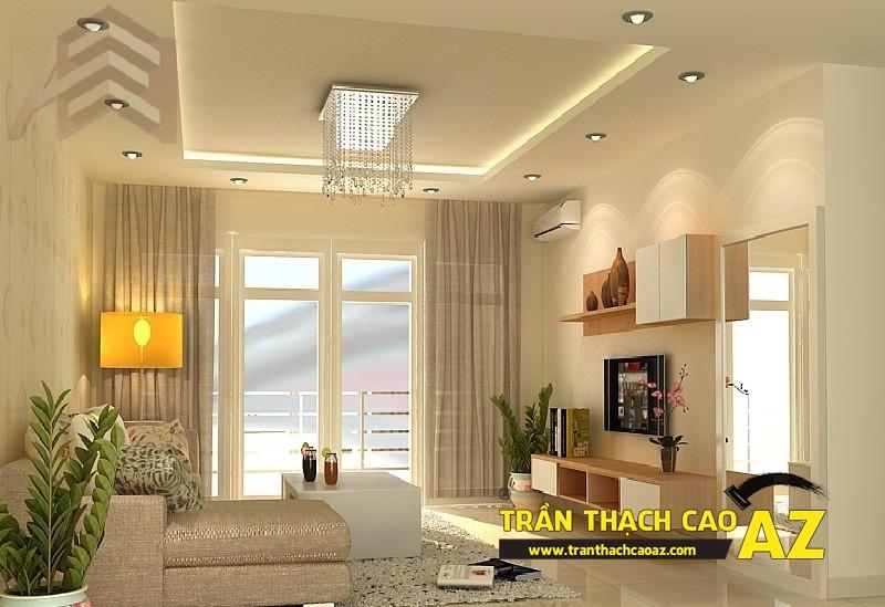 Mẫu trần thạch cao phòng khách nhà ống đẹp 04