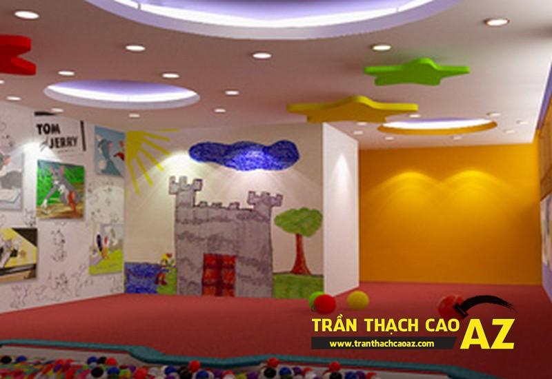 Trần thạch cao phòng ngủ trẻ em đẹp, sinh động, hấp dẫn
