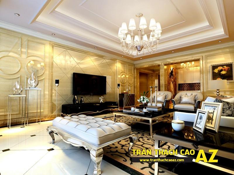 Thiết kế đèn trần thạch cao phòng khách mang phong cách cổ điển, tân cổ điển 01