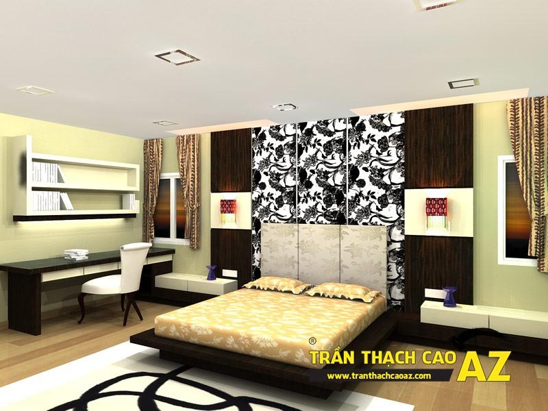 Mẫu trần thạch cao phòng ngủ đơn giản, hiện đại, ấn tượng 01