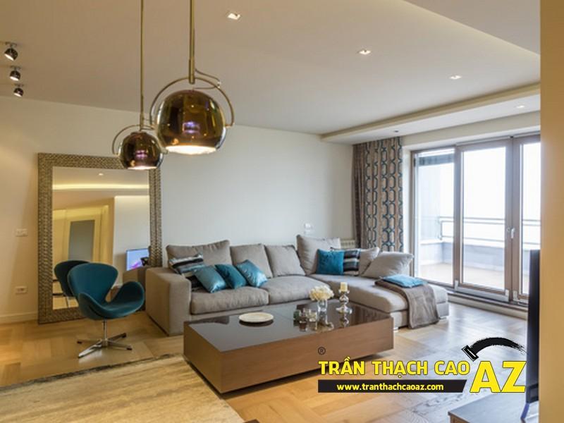 Mẫu trần thạch cao phòng khách đẹp hiện đại, ấn tượng với tạo hình trần giật cấp 01