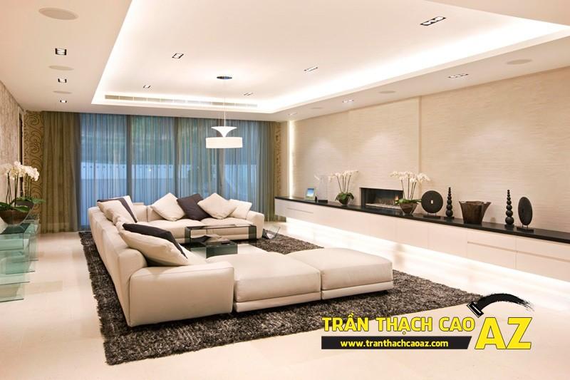 Mẫu trần thạch cao phòng khách đẹp hiện đại, ấn tượng với tạo hình trần giật cấp 03