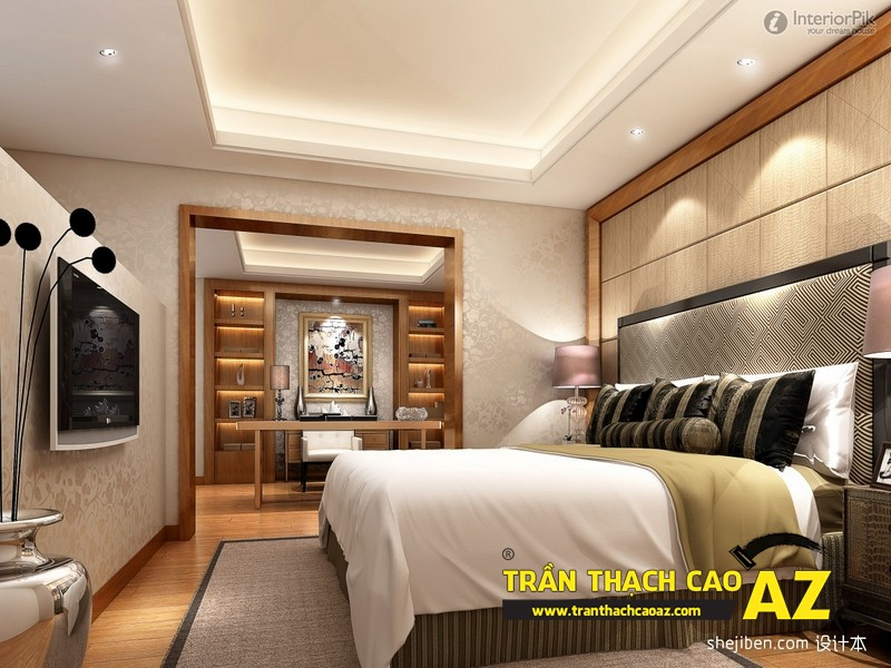Mẫu trần thạch cao phòng ngủ đơn giản, hiện đại, ấn tượng 03