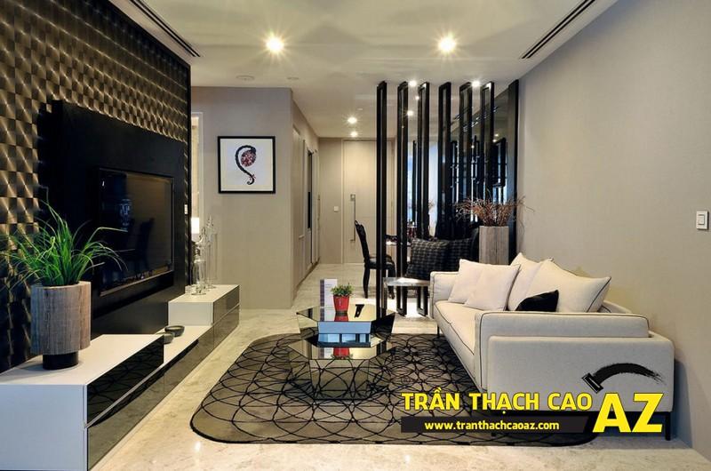 Mẫu trần thạch cao phòng khách đẹp hiện đại, ấn tượng với tạo hình trần phẳng 02