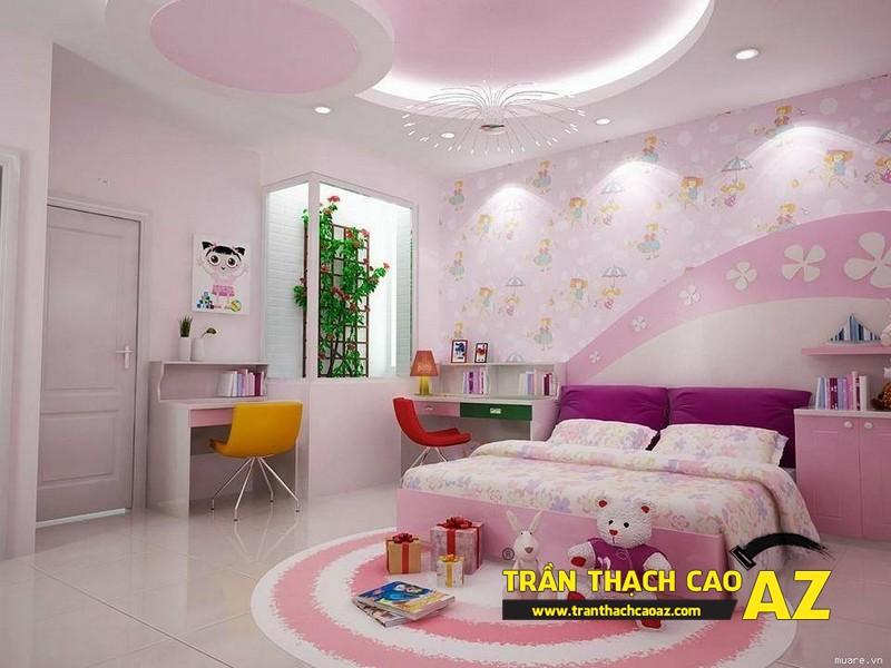 Các mẫu trần thạch cao phòng ngủ cho bé gái đẹp nhất 2016