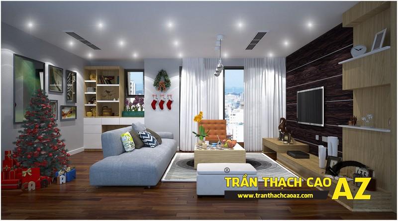 Nguyên tắc bố trí đèn trần thạch cao phòng khách rộng theo kiểu trần phẳng