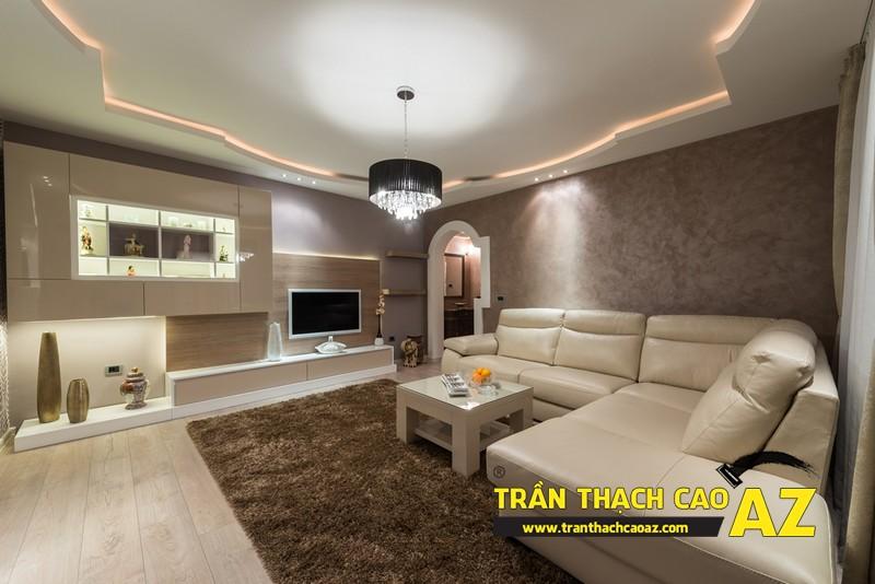 Nguyên tắc bố trí đèn trần thạch cao phòng khách rộng theo kiểu trần giật cấp