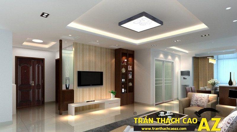 Cách bố trí đèn trần thạch cao phòng khách rộng cực bắt mắt