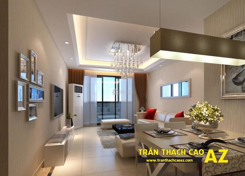 Hướng dẫn cách đi đèn led ở trần thạch cao phòng khách nhà ống tạo hình theo kiểu trần giật cấp 02