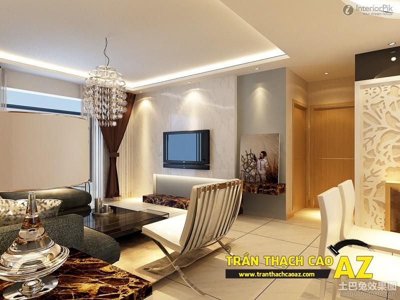 Mẫu trần thạch cao phòng khách rộng theo kiểu trần giật cấp phong cách hiện đại