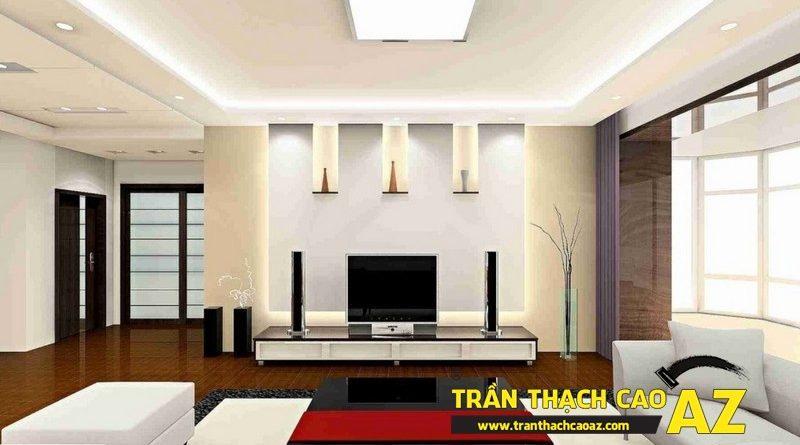 Thiết kế trần thạch cao phòng khách rộng chuẩn xu hướng hot 2017