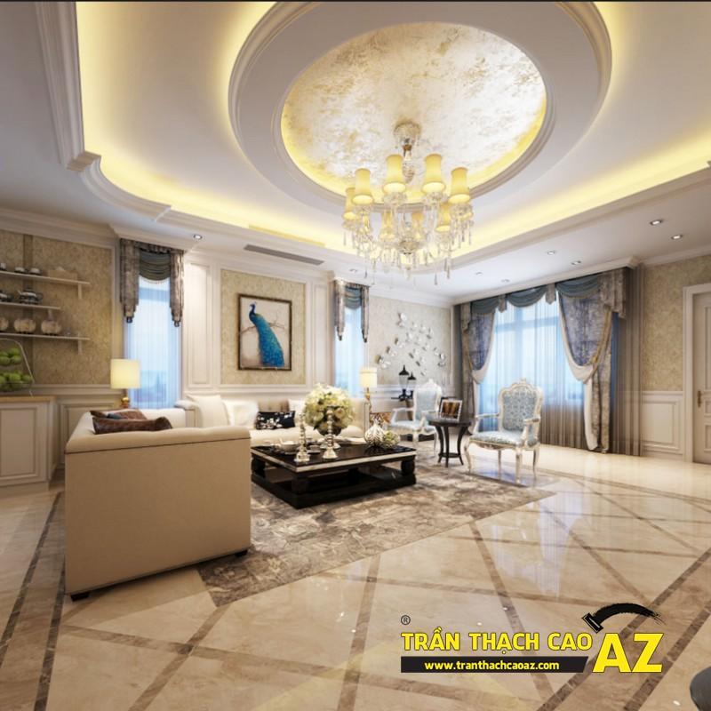 Mẫu trần thạch cao phòng khách rộng theo kiểu trần giật cấp phong cách cổ điển, tân cổ điển
