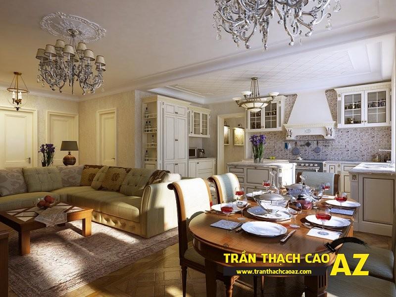 Đắm chìm trước mẫu trần thạch cao phòng bếp đẹp lung linh