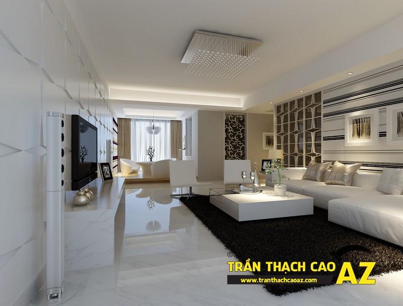 Chọn màu trần thạch cao phòng khách nhà phố, nhà ống phù hợp với màu sắc nội thất