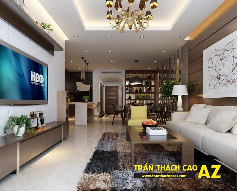 Chọn kiểu đèn chùm trần thạch cao phù hợp với phòng khách nhà ống