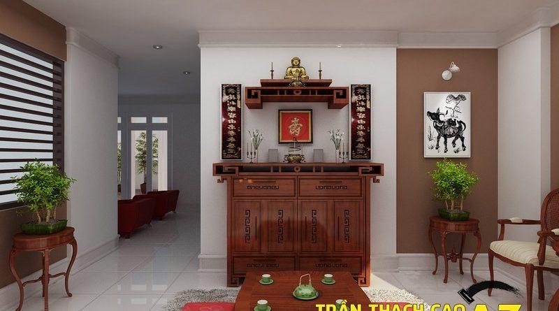 Không gian phòng thờ ấm cúng nhờ tạo hình trần thạch cao đơn giản mà đẹp
