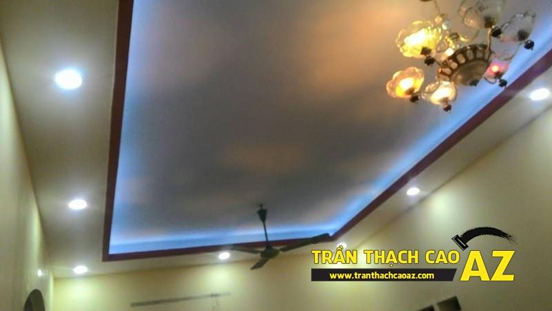 Thi công trần thạch cao phòng khách nhà ống nhà anh Trung ngõ 27, đường Trần Bình 05