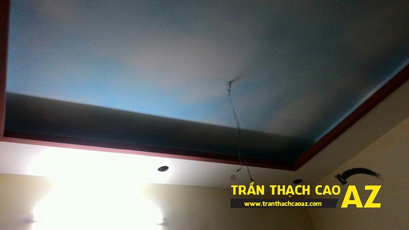 Thi công trần thạch cao phòng khách nhà ống nhà anh Trung ngõ 27, đường Trần Bình 03