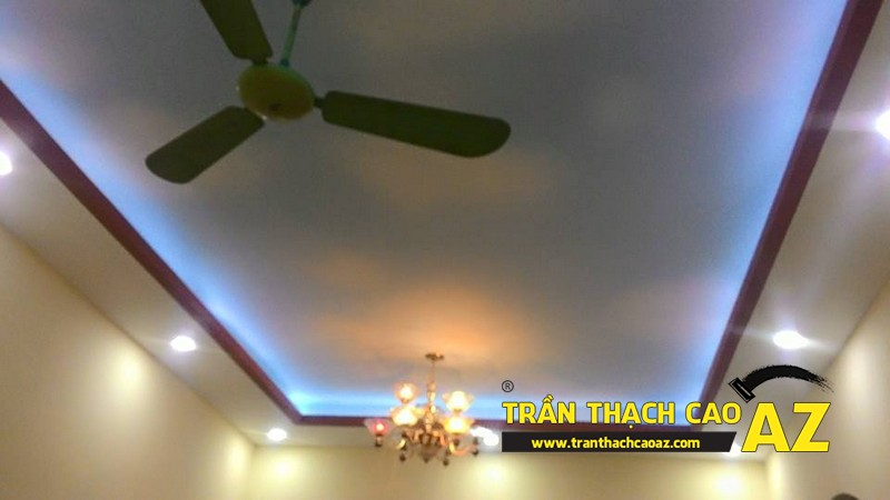 Thi công trần thạch cao phòng khách nhà ống nhà anh Trung ngõ 27, đường Trần Bình 04