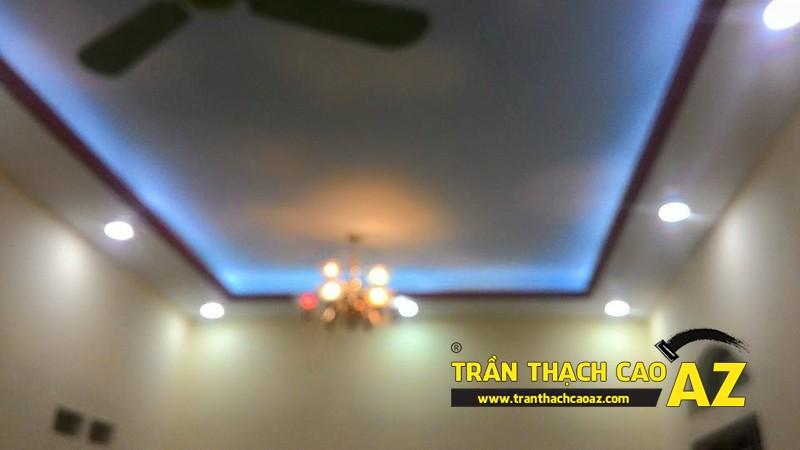 Thi công trần thạch cao phòng khách nhà ống nhà anh Trung ngõ 27, đường Trần Bình 02