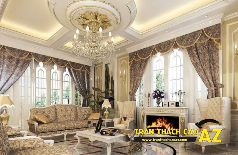 Mẫu trần thạch cao biệt thự cổ điển dành cho phòng khách 03