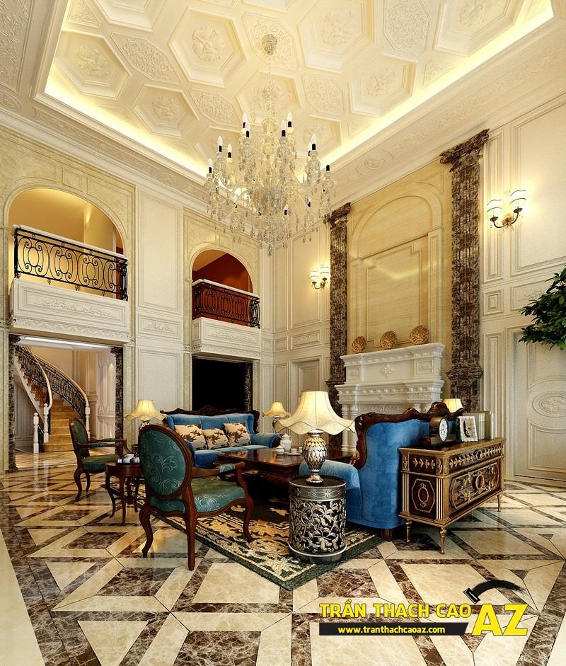 Mẫu trần thạch cao biệt thự cổ điển dành cho phòng khách 04