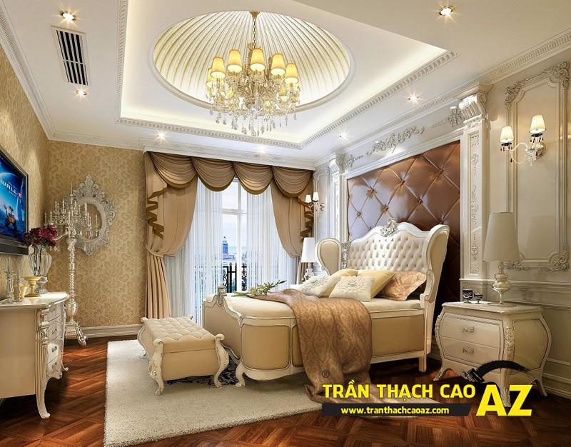Mẫu trần thạch cao biệt thự cổ điển dành cho phòng ngủ 07