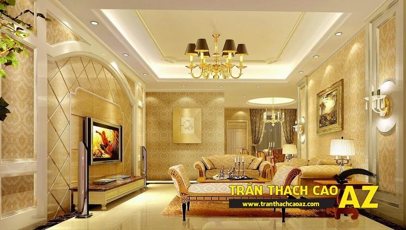 Mẫu trần thạch cao biệt thự cổ điển dành cho phòng khách 05
