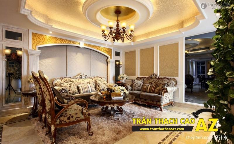 Mẫu trần thạch cao biệt thự cổ điển dành cho phòng khách 02