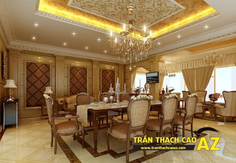 Mẫu trần thạch cao biệt thự cổ điển dành cho phòng bếp, phòng ăn 02