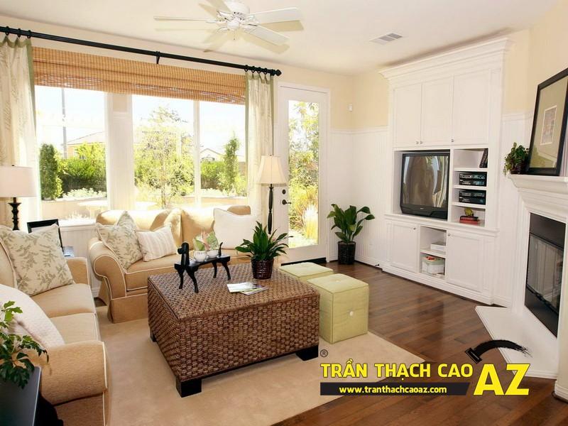 Mẫu trần thạch cao đơn giản mà đẹp dành cho phòng khách