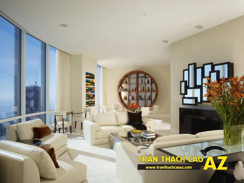 Mẫu trần thạch cao phòng khách 2016 theo phong cách đơn giản mà đẹp 06