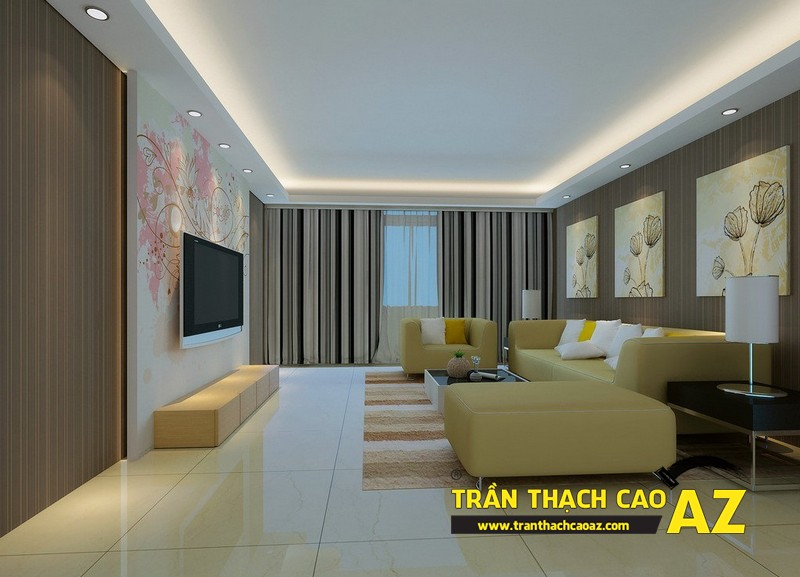 Mẫu trần thạch cao phòng khách 2016 theo phong cách đơn giản mà đẹp 09