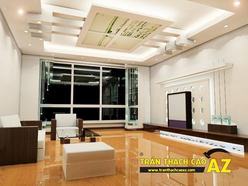 Mẫu trần thạch cao phòng khách 2016 theo phong cách nhấn ấn tượng, mạnh bạo 04