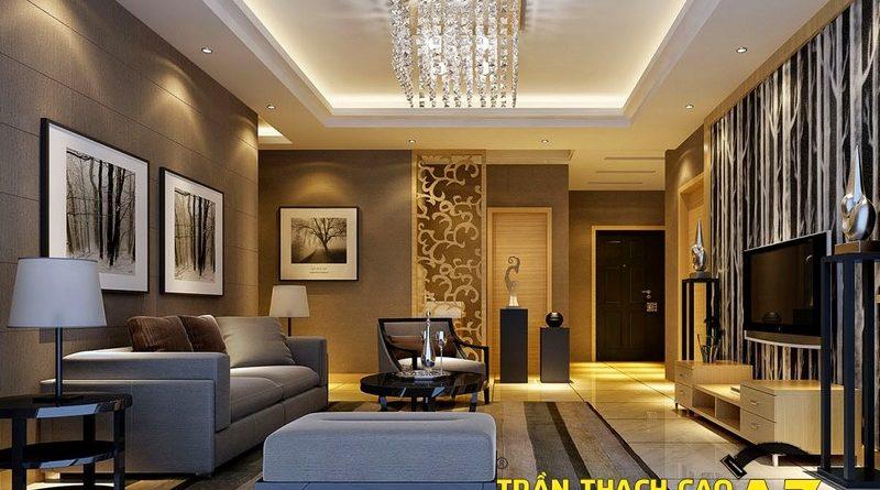 Không gian sang trọng nhờ tạo hình trần thạch cao phòng khách nhà ống đẹp