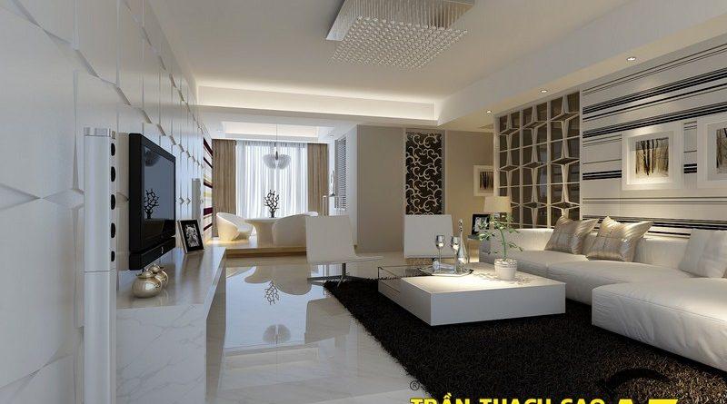 Mẫu trần thạch cao phòng khách hiện đại cực đẹp cho căn hộ mini