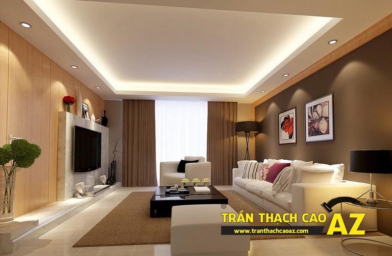 Mẫu trần thạch cao phòng khách đẹp cho căn hộ mini với tạo hình trần giật cấp 04