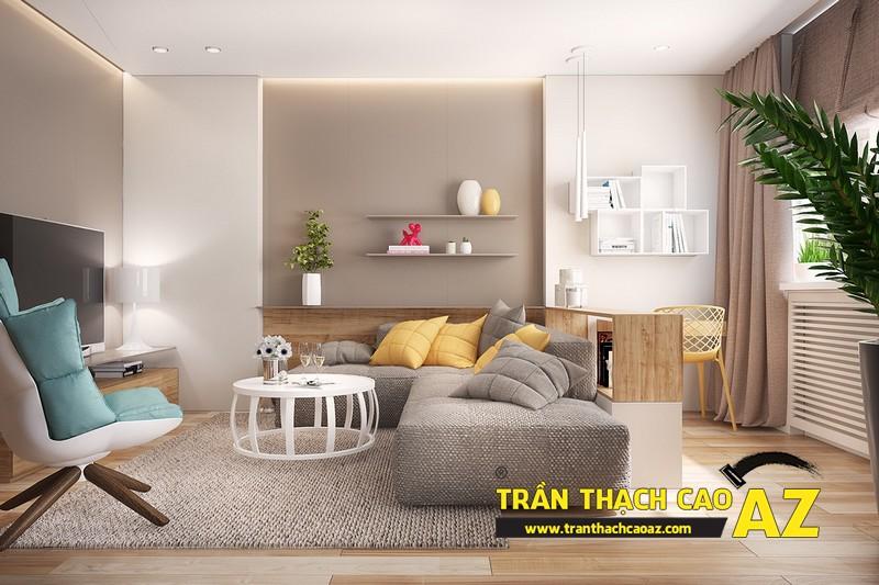Mẫu trần thạch cao phòng khách đẹp cho căn hộ mini với tạo hình trần phẳng 04
