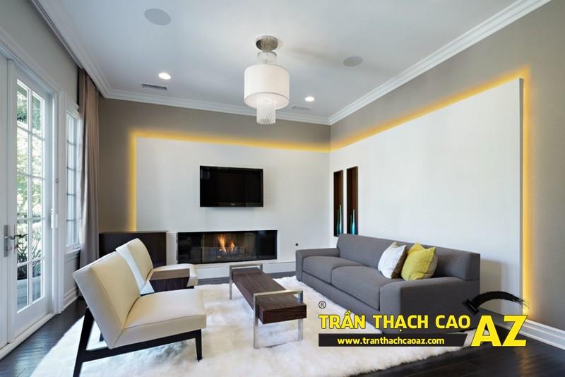Mẫu trần thạch cao phòng khách đẹp cho căn hộ mini với tạo hình trần phẳng 06
