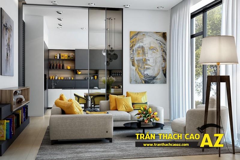 Mẫu trần thạch cao phòng khách đẹp cho căn hộ mini với tạo hình trần phẳng 05