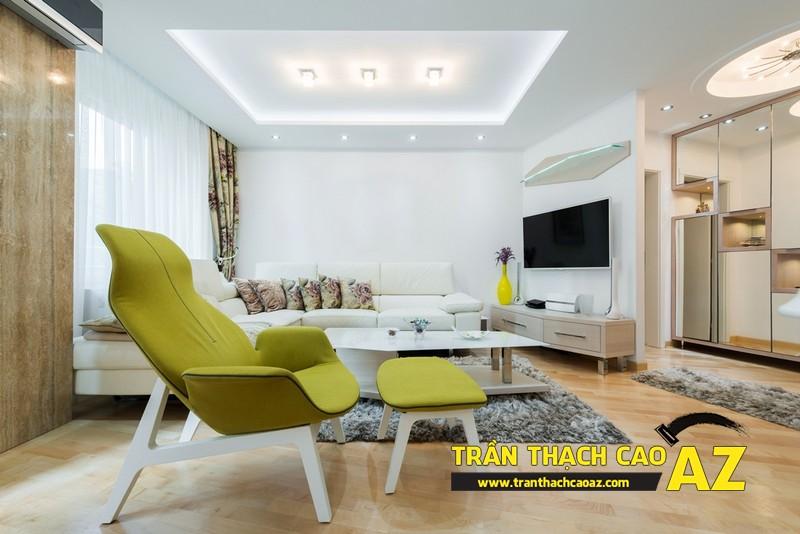 Mẫu trần thạch cao phòng khách đẹp cho căn hộ mini với tạo hình trần giật cấp 06