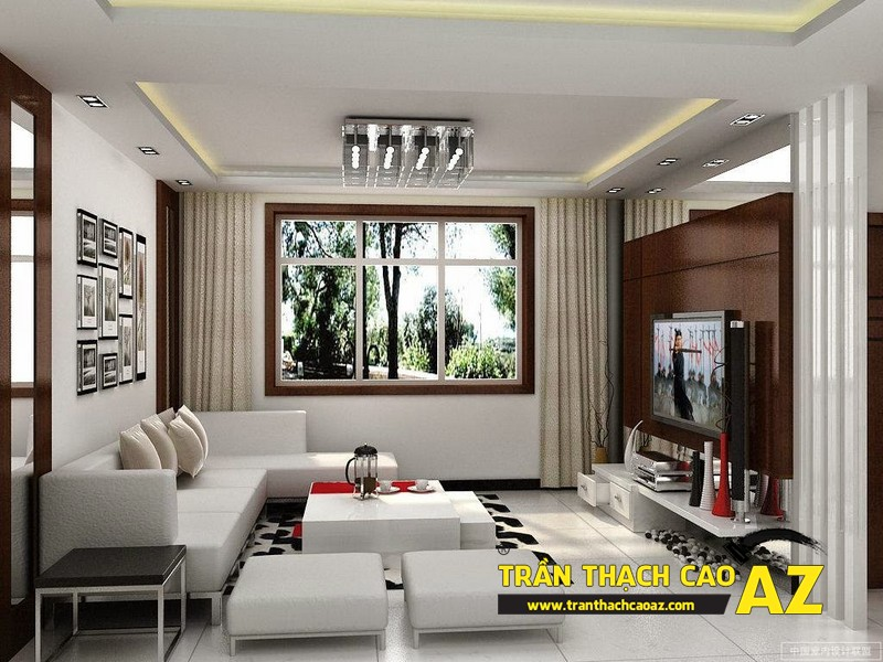 Mẫu trần thạch cao phòng khách đẹp cho căn hộ mini với tạo hình trần giật cấp 08