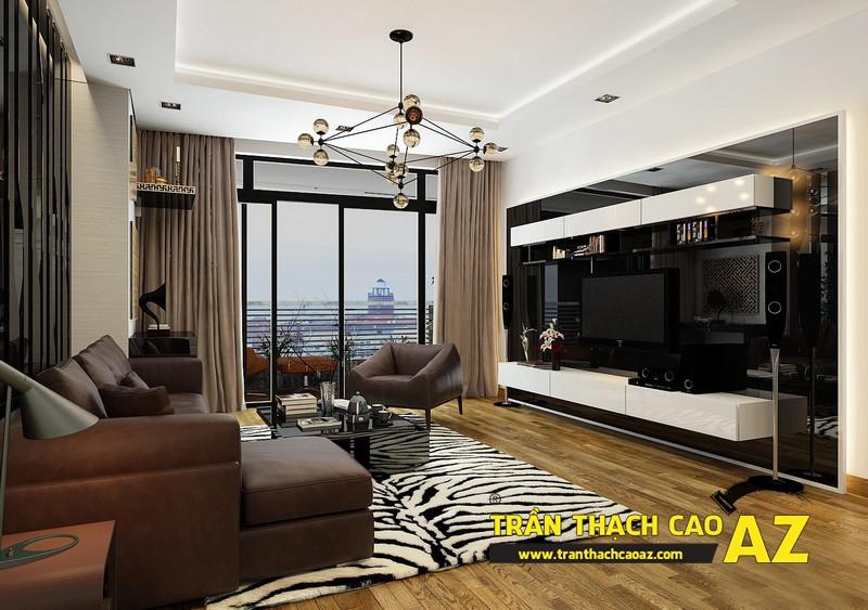 Mẫu trần thạch cao phòng khách đẹp cho căn hộ mini với tạo hình trần giật cấp 09