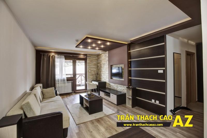 Mẫu trần thạch cao phòng khách nhà ống theo kiểu trần phẳng 02
