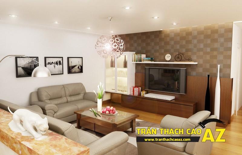 Mẫu trần thạch cao phòng khách nhà ống theo kiểu trần phẳng 03