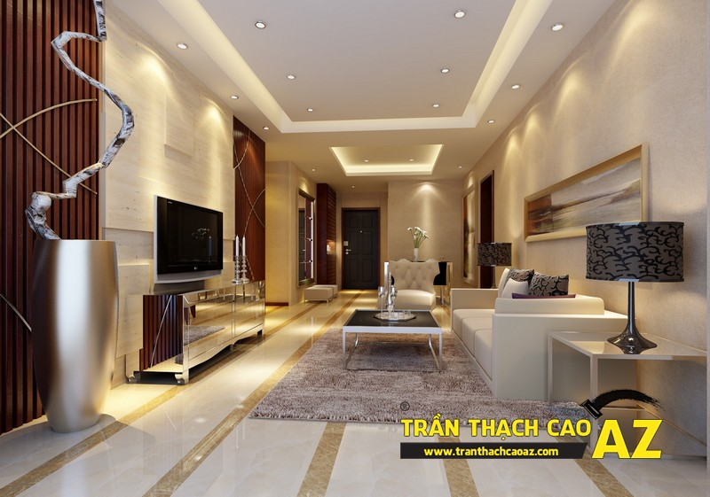 Mẫu trần thạch cao phòng khách nhà ống theo kiểu trần giật cấp hiện đại 01