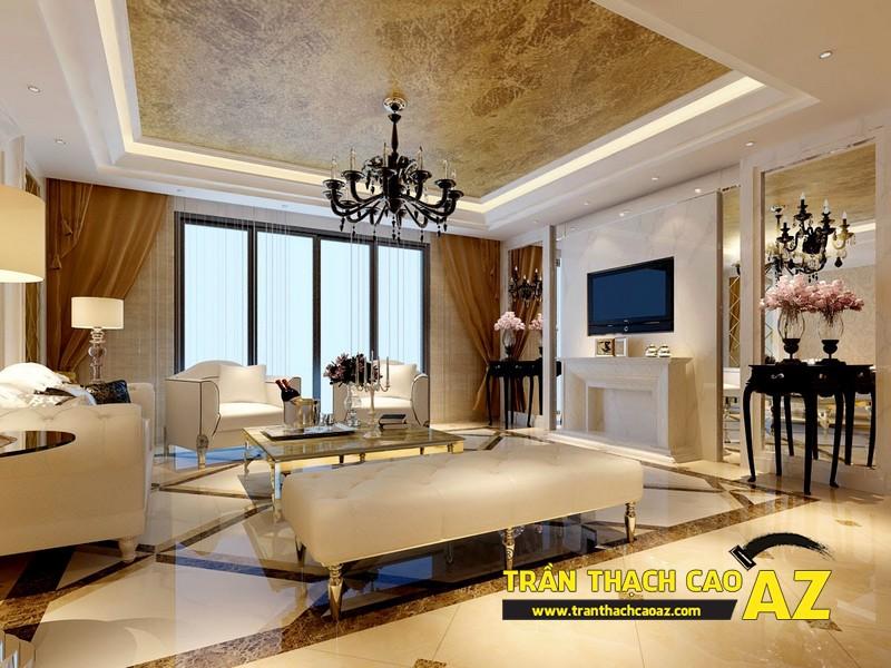 Mẫu trần thạch cao phòng khách nhà ống theo kiểu trần giật cấp cổ điển - tân cổ điển 02